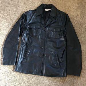 J. Crew Black Leather Jacket, size M